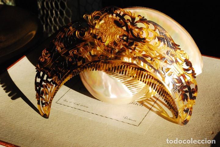 PRECIOSA PEINETA ANTIGUA DE CAREY TIPO DIADEMA (Antigüedades - Moda - Peinetas Antiguas)