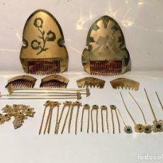 Antigüedades: ORNAMENTACIÓN FALLERA VALENCIANA. DOS CONJUNTOS DE PEINETA, DOS BROCHES Y TOQUILLAS.. Lote 125724920