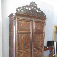Antigüedades: ANTIGUO ARMARIO BARROCO CATALÁN - MADERA DE NOGAL - PINTURA DE ÉPOCA - DESMONTABLE - AÑO 1763. Lote 125823695