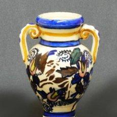 Antigüedades: PEQUEÑA Y ANTIGUA ANFORA / JARRÓN CON ASAS DE TALAVERA - PINTADO A MANO. Lote 125825787