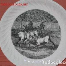 Antigüedades: PLATO VIEJO GRANDE CON ESCENA DE REJONEO. Lote 125828699