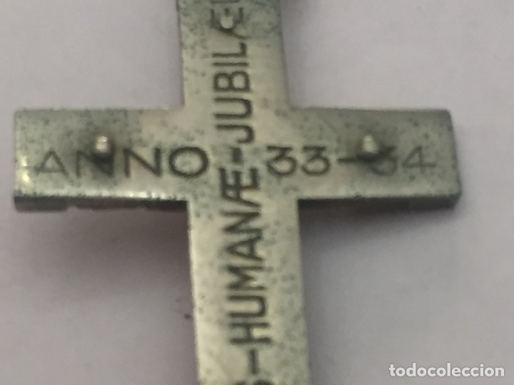 Antigüedades: Antigua cruz de metal y nácar año 32-34 5.5x3.5cm - Foto 5 - 125839936