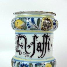 Antigüedades: ALBARELO O BOTE DE FARMACIA. A. FAFFI. CERÁMICA. ITALIA. SIGLO XVIII.. Lote 125921911