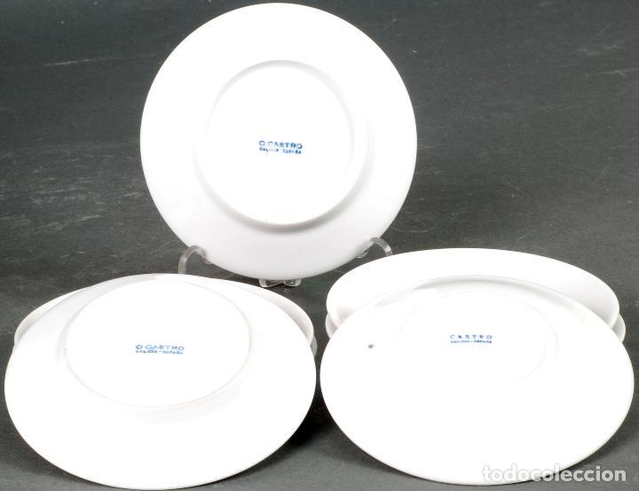 Antigüedades: Lote de siete platos de cáfe en porcelana blanca Castro Sargadelos siglo XX - Foto 3 - 125925227