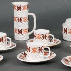 Antigüedades: JUEGO DE CAFÉ PORCELANA CASTRO SARGADELOS SEIS SERVICIOS EN TONOS MARRONES INCOMPLETO AÑOS 50. Lote 125926459
