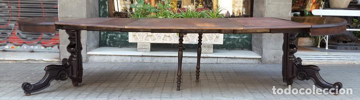 MESA EXTENSIBLE DE COMEDOR. MADERA DE CAOBA. ESTILO ISABELINO. ESPAÑA. CIRCA 1850. (Antigüedades - Muebles Antiguos - Mesas Antiguas)