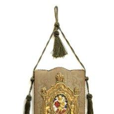 Antigüedades: BELLA BENDITERA DE LATÓN Y ESMALTE SOBRE METAL - S. XIX. Lote 125930951