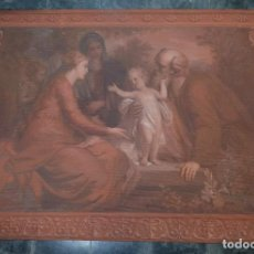 Antigüedades: TAPIZ PINTADO A MANO SAGRADA FAMILIA FINALES SIGLO XIX. Lote 125952955