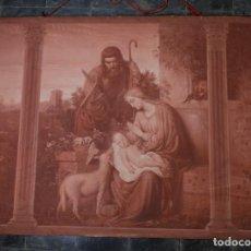 Antigüedades: TAPIZ PINTADO A MANO SAGRADA FAMILIA FINALES SIGLO XIX. Lote 125952975