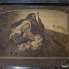 Antigüedades: TAPIZ PINTADO A MANO SAGRADA FAMILIA FINALES SIGLO XIX. Lote 125952999
