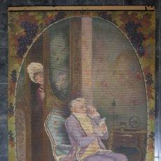 Antigüedades: RAPIZ PINTADO A MANO ESCENA CORTESANA FINALES SIGLO XX FIRMADO F.CASTILLA. Lote 125953003