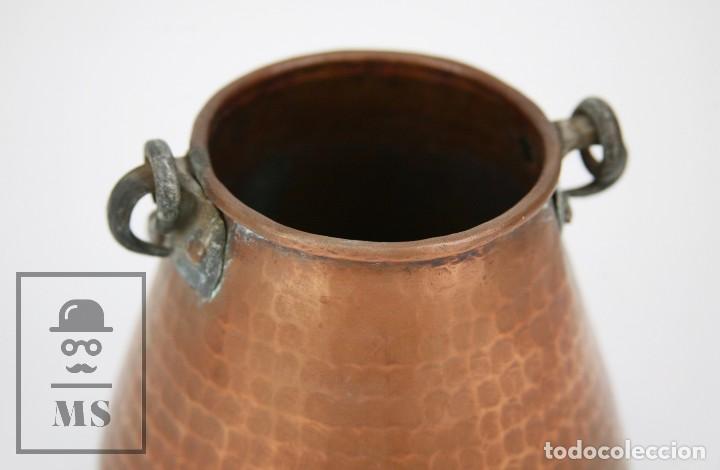 Antigüedades: Medida / Mesura o Caldero de Cobre Martillado con Asa de Hierro - Medidas 15 x 15 x 14 cm - Foto 4 - 125989051