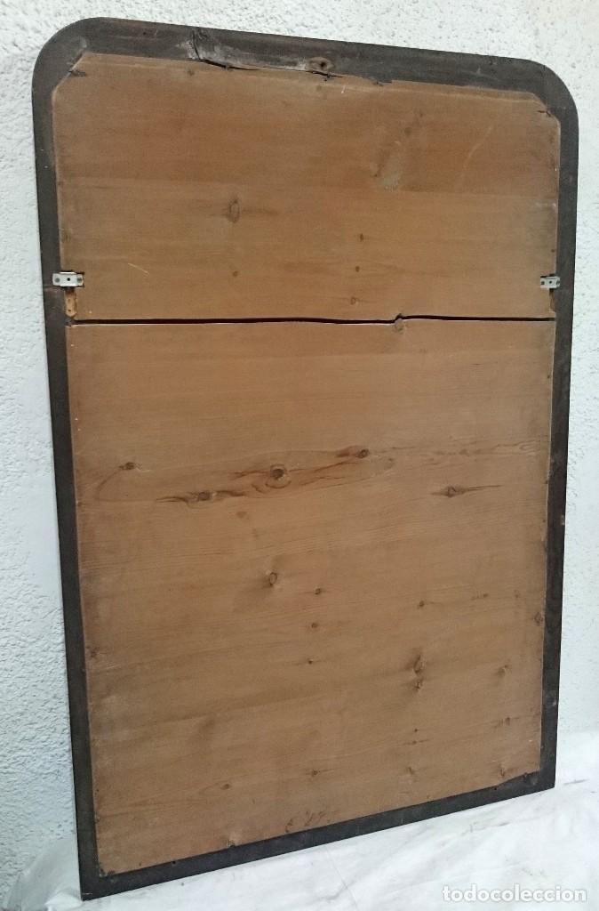 Antigüedades: Espectacular espejo de madera de caoba rubia lacado en negro, alta calidad, Isabelino.128x79 - Foto 4 - 126031335