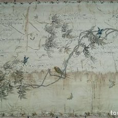 Antigüedades: ANTIGUO TAPIZ DE SEDA BORDADA S.XIX. Lote 126044491