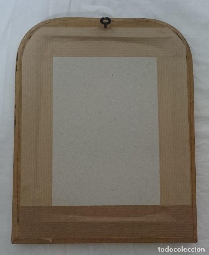 Antigüedades: Antiguo espejo de madera de nogal isabelino dorado al oro fino. S.XIX. Rareza de tamaño. 30x24cm. - Foto 4 - 126065835