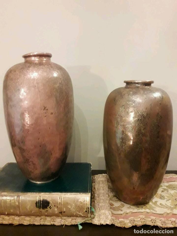 Antigüedades: WFM - LOTE 2 JARRONES O FLOREROS DE METAL LATÓN O COBRE ?? - ALEMANIA AÑOS 30. - Foto 27 - 126068699