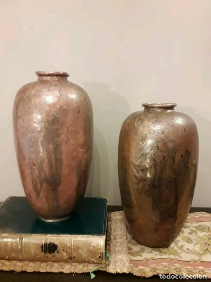 Antigüedades: WFM - LOTE 2 JARRONES O FLOREROS DE METAL LATÓN O COBRE ?? - ALEMANIA AÑOS 30. - Foto 28 - 126068699
