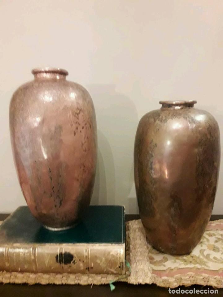 Antigüedades: WFM - LOTE 2 JARRONES O FLOREROS DE METAL LATÓN O COBRE ?? - ALEMANIA AÑOS 30. - Foto 29 - 126068699