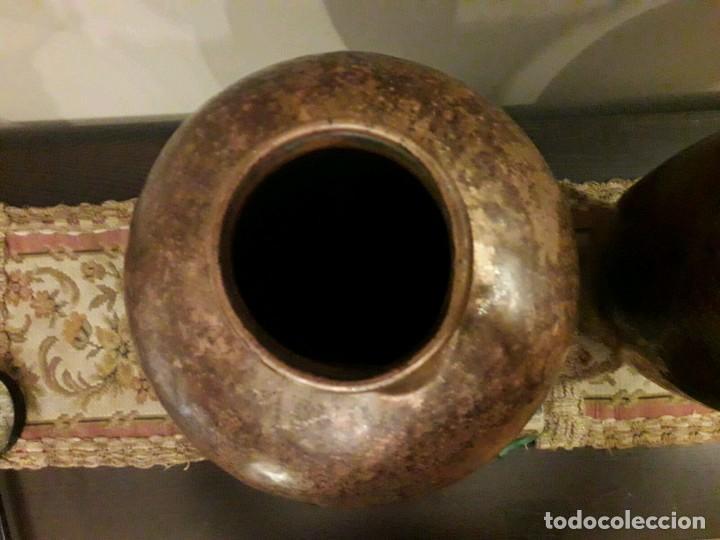 Antigüedades: WFM - LOTE 2 JARRONES O FLOREROS DE METAL LATÓN O COBRE ?? - ALEMANIA AÑOS 30. - Foto 35 - 126068699