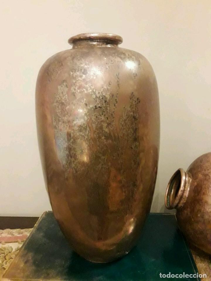 Antigüedades: WFM - LOTE 2 JARRONES O FLOREROS DE METAL LATÓN O COBRE ?? - ALEMANIA AÑOS 30. - Foto 39 - 126068699