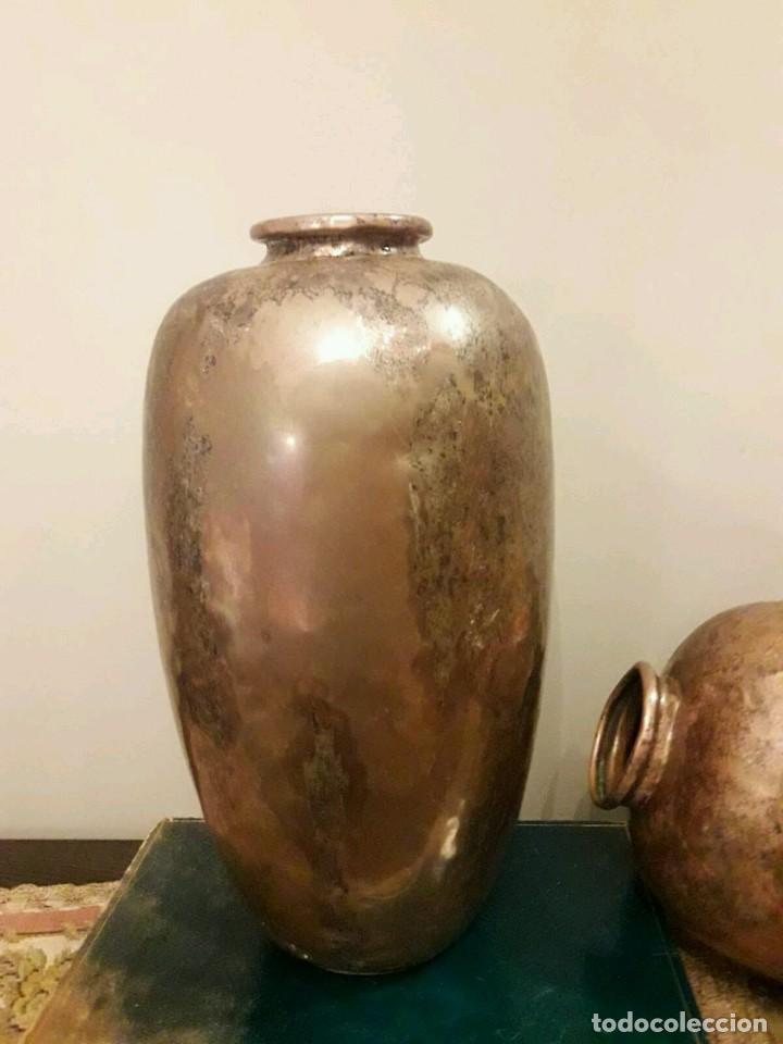 Antigüedades: WFM - LOTE 2 JARRONES O FLOREROS DE METAL LATÓN O COBRE ?? - ALEMANIA AÑOS 30. - Foto 36 - 126068699