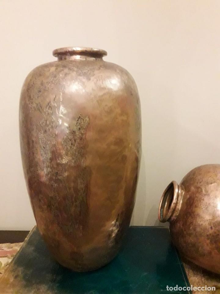 Antigüedades: WFM - LOTE 2 JARRONES O FLOREROS DE METAL LATÓN O COBRE ?? - ALEMANIA AÑOS 30. - Foto 38 - 126068699