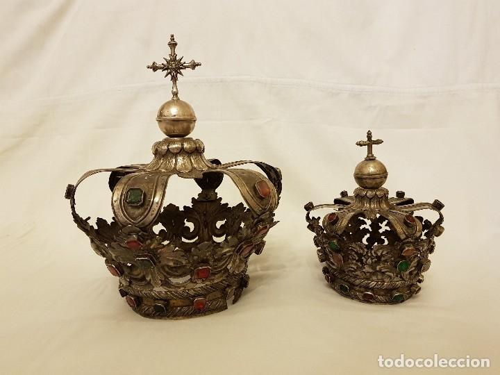 CORONAS PARA VIRGEN Y NIÑO. PLATA. FINALES SIGLO XVIII. PUNZONES QUINTANA Y HARO (LA RIOJA) (Antigüedades - Religiosas - Orfebrería Antigua)