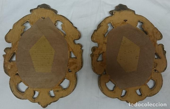 Antigüedades: Antigua pareja de espejos, cornucopias de madera de nogal, doradas al oro fino. S.XIX - Foto 3 - 123334391