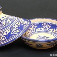 Antigüedades: BONITO TAJIN DECORATIVO DE FEZ (MARRUECOS) - TAJINA TAJINE - FIRMADO. Lote 126089107