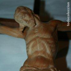 Antigüedades: TALLA EN MADERA DE FRESNO CRISTO CRUCIFICADO, FINALES SIGLO XLX PRINCIPIOS XX. 29 X 20 CMS SIN CRUZ. Lote 126092639