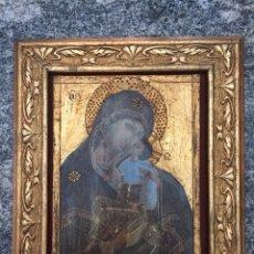 Antiquitäten - Retablo de virgen Lámina pintada con pan de oro - 126108815