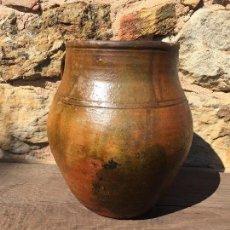 Antigüedades: CERÁMICA POPULAR OLLA VIDRIADA DE 2 ASAS. Lote 126113895