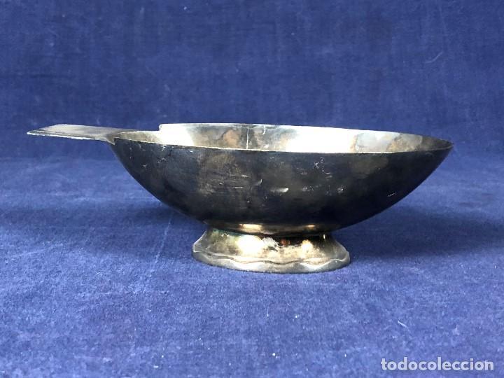 Antigüedades: salsera mesa servir metal plateado gallia francia art deco ovalada ondas en base 0422 años 30 6x20cm - Foto 2 - 126117047