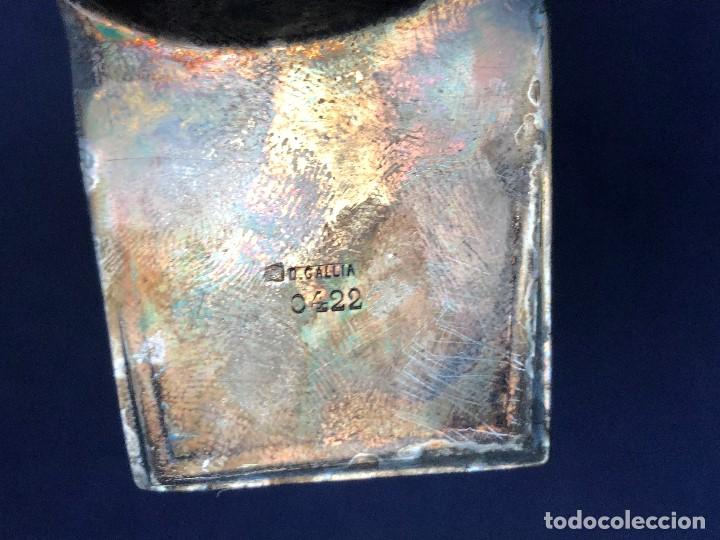 Antigüedades: salsera mesa servir metal plateado gallia francia art deco ovalada ondas en base 0422 años 30 6x20cm - Foto 7 - 126117047
