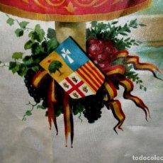 Antigüedades: PAÑUELO DE LA VIRGEN DEL PILAR CON LA BANDERA REPUBLICANA, SEDA PINTADA. 43 CM LADO. SIN USO AÑOS 30. Lote 40430541