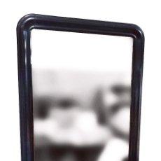 Antigüedades - Espectacular espejo de madera de caoba rubia lacado en negro, alta calidad, Isabelino.128x79 - 126031335