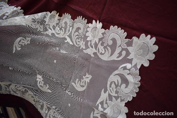 Antigüedades: Mantilla blanca antigua 180 x 55 cm - Foto 5 - 126208347
