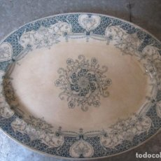 Antigüedades: ANTIGUA BANDEJA DE LA CARTUJA PICKMAN OVALADA COLOR AZUL 24X32CM. Lote 126259503