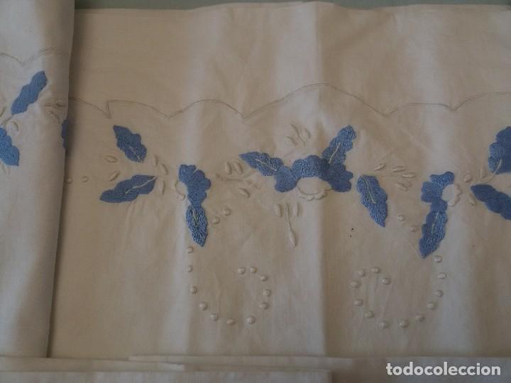 Antigüedades: CONJUNTO SABANA Y FUNDA-ALGODÓN-BORDADA A MANO - Foto 11 - 126266827