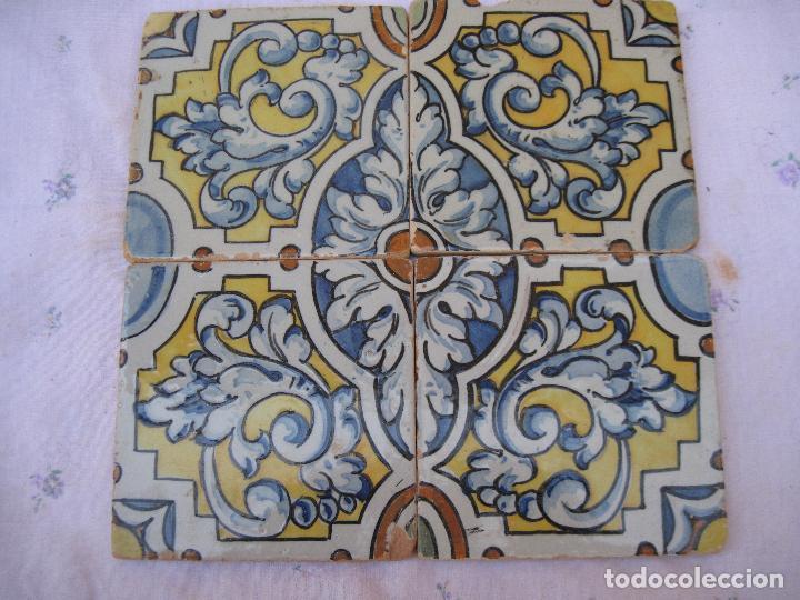 LOTE DE 4 AZULEJOS ANTIGUOS DE TALAVERA / TOLEDO /.CERAMISTA RUIZ DE LUNA. (Antigüedades - Porcelanas y Cerámicas - Talavera)