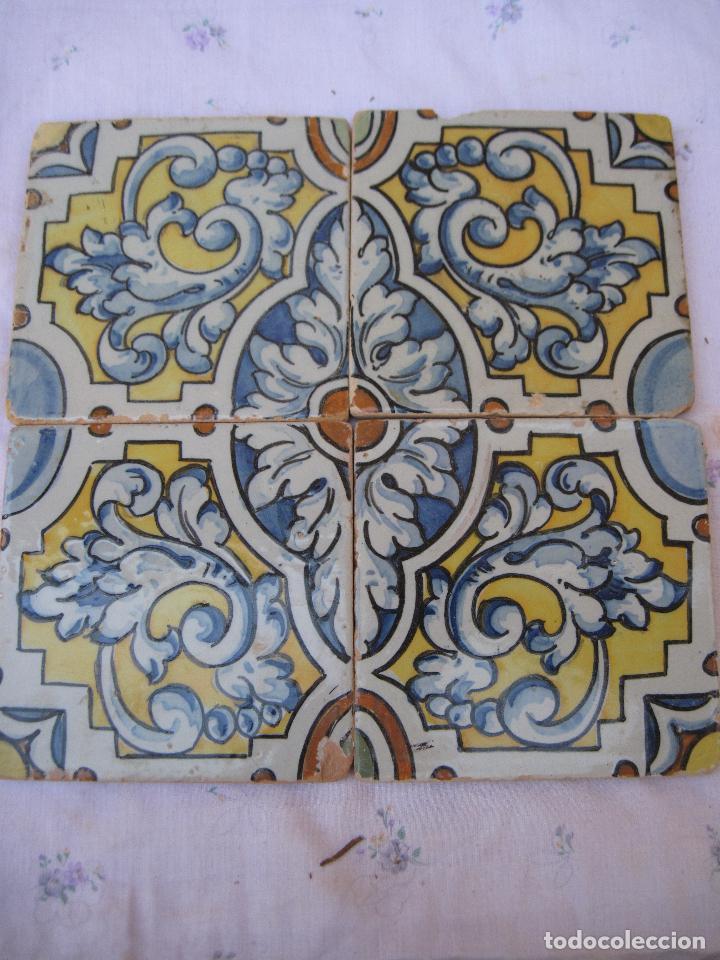 Antigüedades: LOTE DE 4 AZULEJOS ANTIGUOS DE TALAVERA / TOLEDO /.CERAMISTA RUIZ DE LUNA. - Foto 2 - 126289351