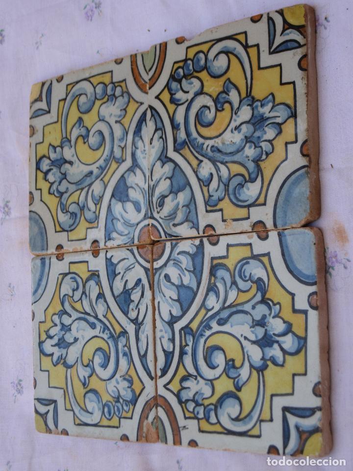 Antigüedades: LOTE DE 4 AZULEJOS ANTIGUOS DE TALAVERA / TOLEDO /.CERAMISTA RUIZ DE LUNA. - Foto 3 - 126289351