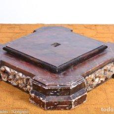Antigüedades: PEDESTAL ANTIGUO DE IGLESIA - PEANA DE MADERA PARA TALLA RELIGIOSA. Lote 126366975