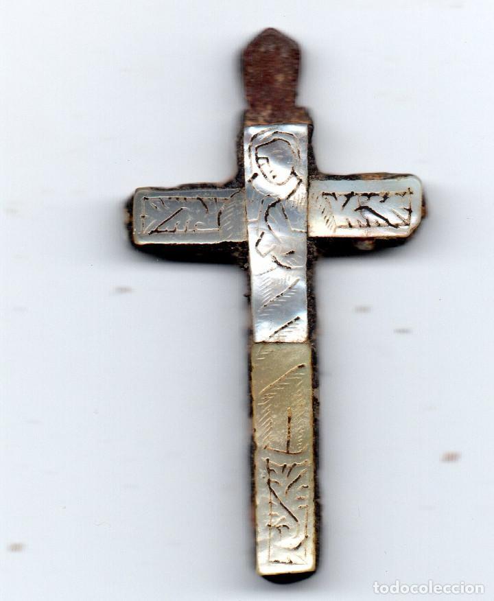 Antigüedades: Cruz en madera y nácar siglo XIX tipo Tierra Santa - Foto 2 - 126403011