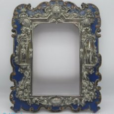 Antiguidades: ANTIGUO MARCO EN PLATA Y MADERA XVIII ANTIQUE FRAME IN SILVER AND WOOD XVIII. Lote 126452047