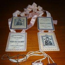 Antigüedades: LOTE DE TRES ESCAPULARIOS ANTIGUOS.VIRGEN CARMEN. PERPETUO SOCORRO. LIGORIO, RELICARIO, MEDALLA. Lote 126487343