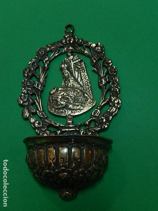 Antigüedades: Pequeña benditera de plata. Principios del siglo XX. - Foto 2 - 126512243