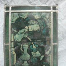 Antigüedades: PRECIOSA VIDRIERA EMPLOMADA DE ORIGEN ALEMAN CON MUCHO DETALLE Y EN BUEN ESTADO, ANTIGUA. Lote 180841550