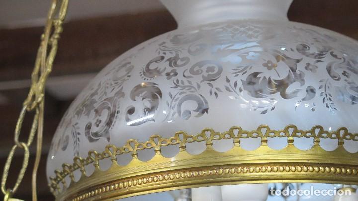 Antigüedades: BONITA LAMPARA ESTILO QUINQUE. AÑOS 40 - Foto 7 - 126587879