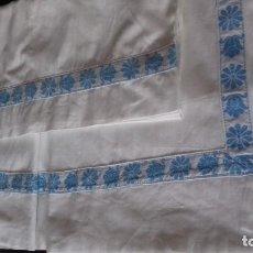 Antigüedades: ANTIGUA SABANA CON FUNDA, CON TAPACOSTURA.. Lote 126590299